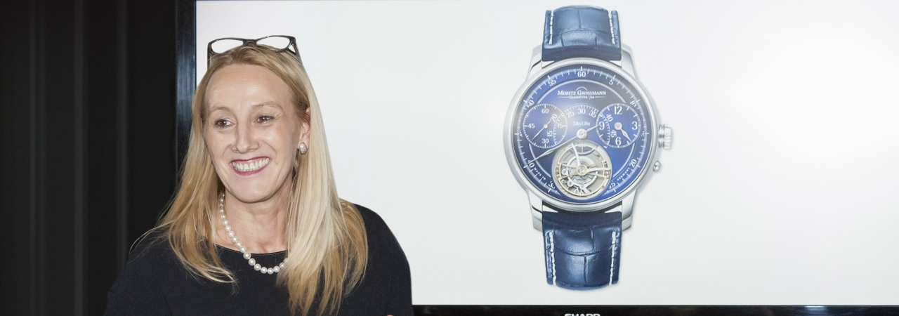 Christine Hutter, Founder and CEO of Moritz Grossmann presenting Skylife watch
